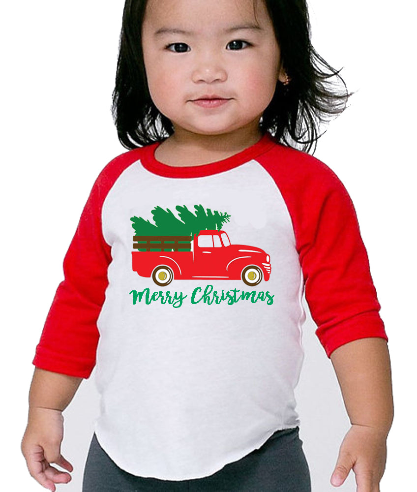 Toddler Baby 3 4 Sleeve Raglan Rustic Christmas Truck Red