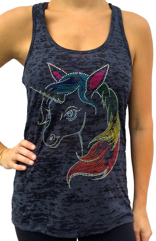 Rhinestone Unicorn Black Burnout Tank