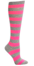 Fluorescent Pink and Grey Stripe Knee Socks