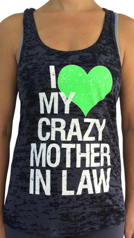 Crazy Mother In Law Black Burnout Tank Top