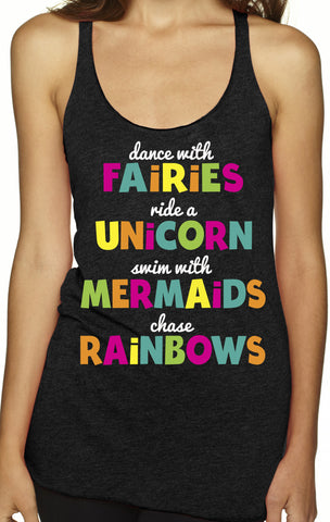 Unicorns, Fairies and Mermaids Charcoal Tri Blend Tank