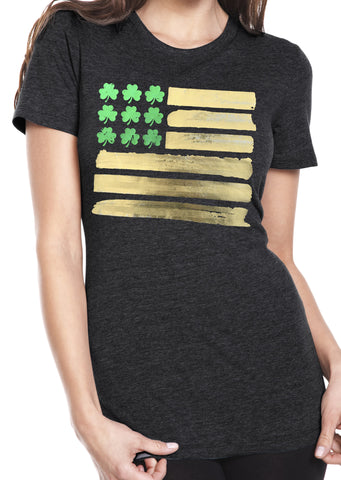 St Patricks Day Flag Tri Blend Crew Neck Charcoal