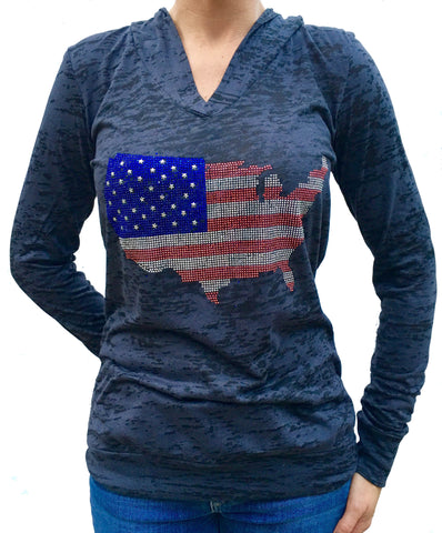 Studded USA Flag Black Burnout Hoody