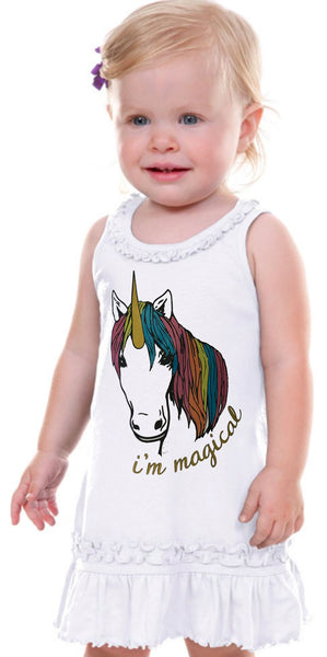 Im Magical Glitter Unicorn Infant Tank Dress