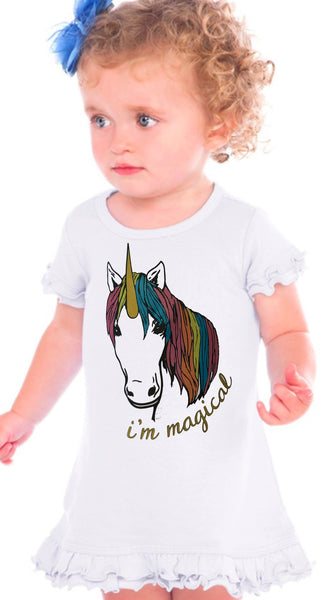 Im Magical Glitter Unicorn Infant Dress