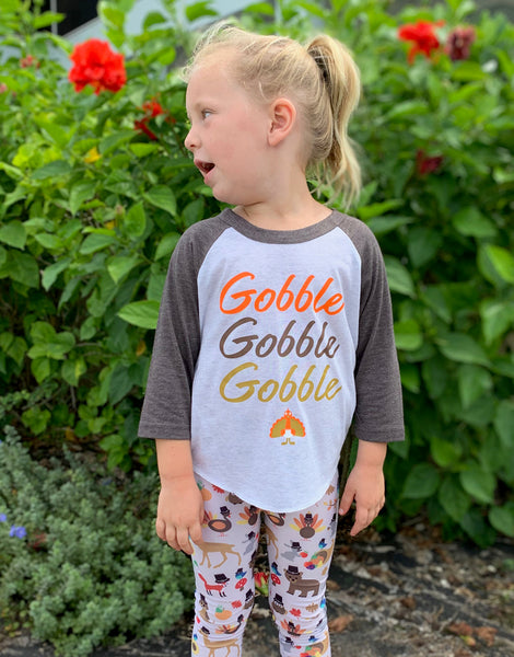 Kids/Youth Thanksgiving Gobble 3/4 Sleeve Raglan