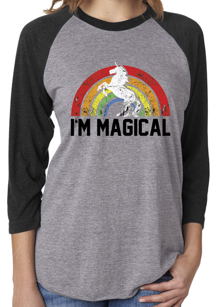 I'm Magical Rainbow Black Unisex 3/4 Sleeve Tri Blend Raglan