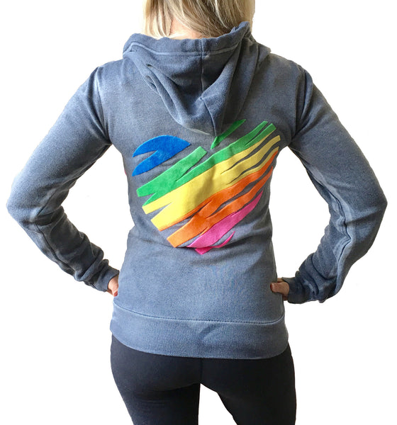 Colored Heart Hooded Fleece Sweatshirt