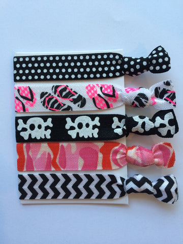 Hair Ties Black and White Skull