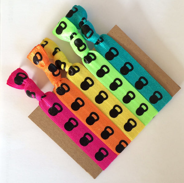 Neon Kettlebell Hair Ties