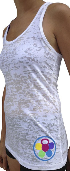 Multi Colored Kettlebell White Burnout Tank