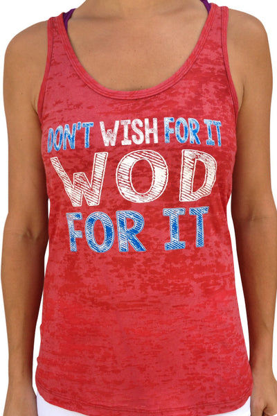 SALE - WOD For It Hand Dyed Red Burnout Tank