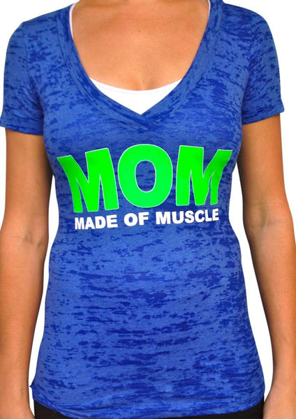 Made Of Muscle Royal Blue Vneck Burnout Tshirt