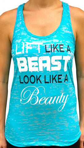 Lift Like A Beast Teal Burnout Tank