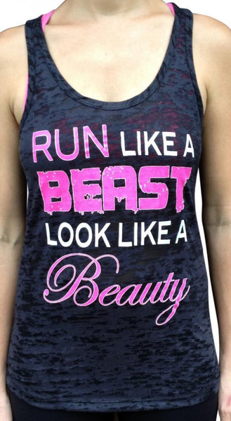 Run Like A Beast Black Burnout Tank