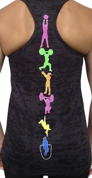 Fitness Moves Black Burnout Tank