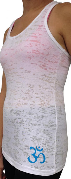 Yoga Chakras White Burnout Tank