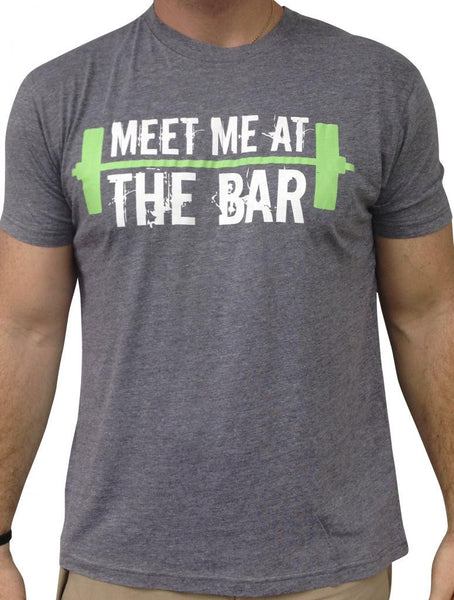 Mens Meet me at The Bar Grey Triblend Tshirt White and Green Logo