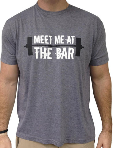 Mens Meet me at The Bar Grey Triblend Tshirt White and Black Logo