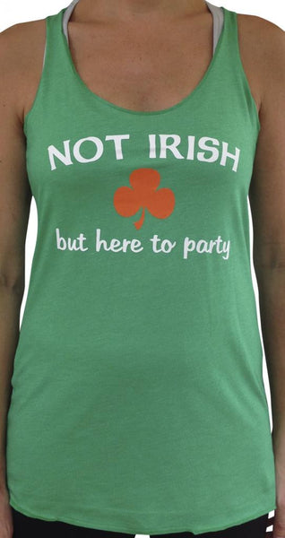 Not Irish But Here To Party TriBlend Tank Top Green