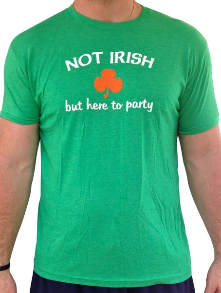 Mens Not Irish But Here To Party Green Tri-blend Tshirt