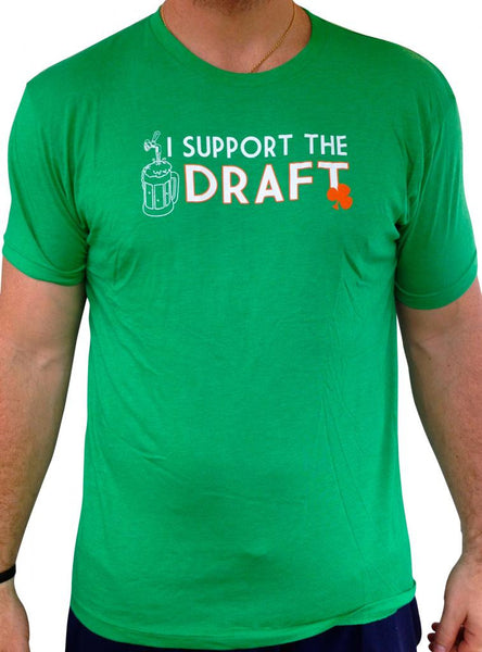 Mens I Support The Draft Triblend Tshirt Green