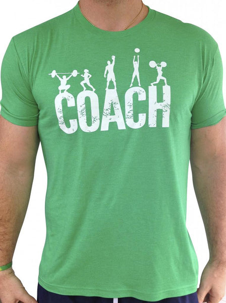 Mens Coach Green Tri Blend Crew Neck
