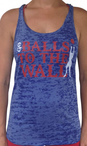 Women's Balls To The Wall Blue Burnout Tank Top