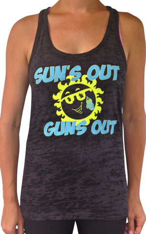 Women's Suns Out Guns Out Burnout Tank Black
