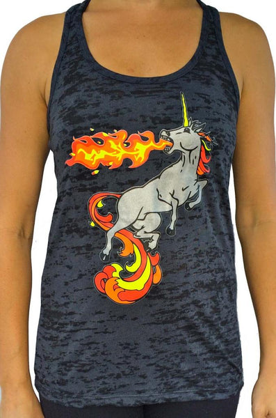 Fire Breathing Unicorn Burnout Tank Top