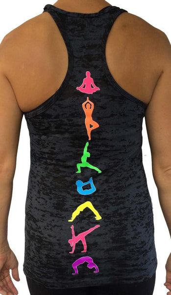 Yoga Moves Black Burnout Tank