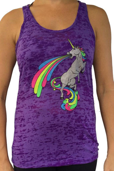 Awesome Unicorn Purple Burnout Tank Top