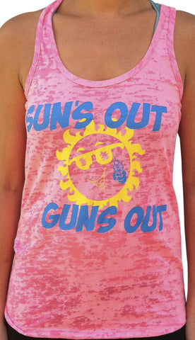 Suns Out Guns Out Neon Pink Burnout Tank