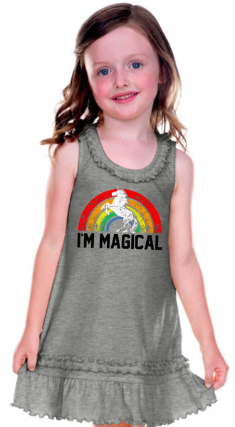 I'm Magical Rainbow Girls Heather Grey Dress