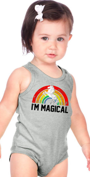 Im Magical Rainbow Infant Tank Onesie Heather Grey