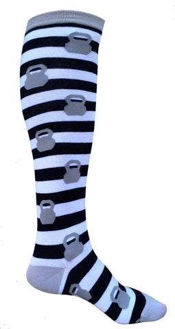 Grey Kettlebell Stripped Knee Socks