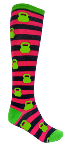 Pink Kettlebell Stripped Knee Socks