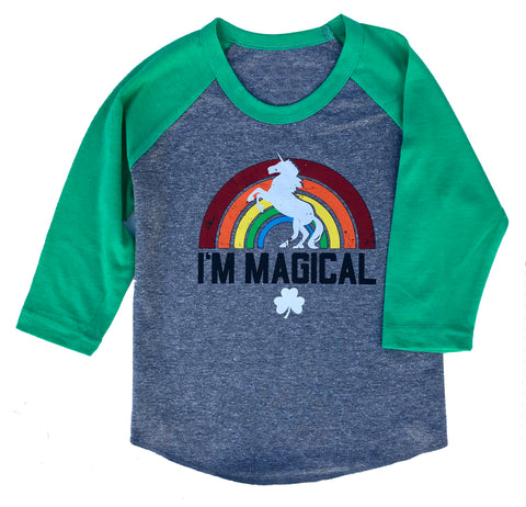 Youth St. Patrick's Day 3/4 Sleeve Rainbow Magical Unicorn Heather Grey & Green