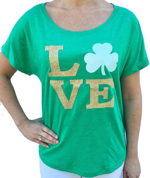 St Patricks Day Glitter Love Shamrock Green Dolman Tshirt