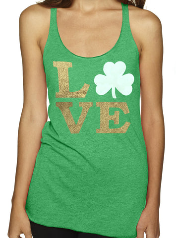 St. Patrick's Day Glitter Love Shamrock TriBlend Tank Top Green