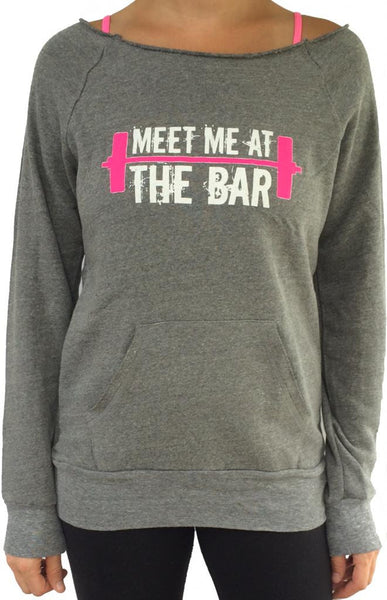 Meet Me At The Bar Grey Off The Shoulder Sweatshirt