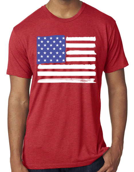 Mens USA American Flag Red Tri Blend Tshirt