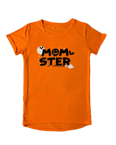 Women's MOMster Orange Tunic Loose Casual T-Shirt Top
