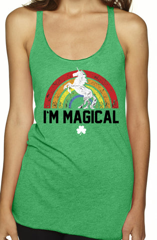 St. Patrick's Day I'm Magical Rainbow TriBlend Tank Top Green