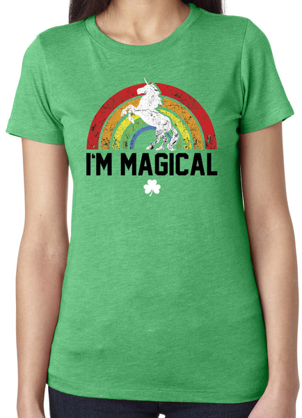 St. Patrick's Day I'm Magical Rainbow Tri Blend Crew Neck Green