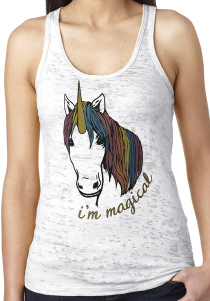 Magical Glitter Unicorn White Burnout Tank