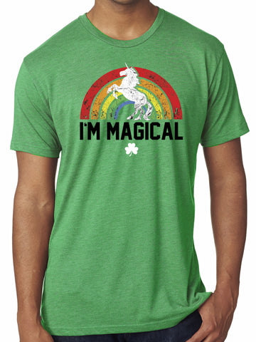 Mens St. Patrick's Day I'm Magical Rainbow Triblend Tshirt Green
