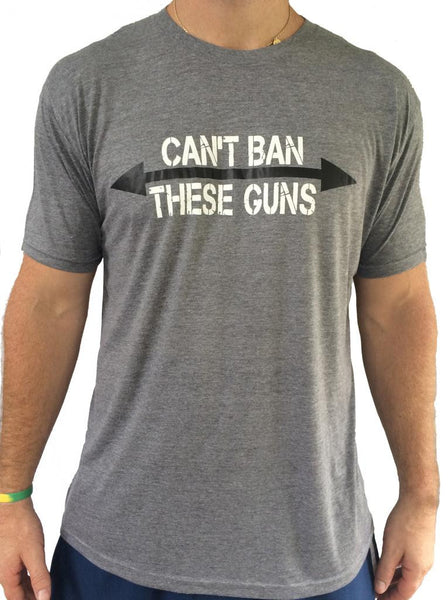 Mens Can't Ban These Guns Grey Triblend Tshirt