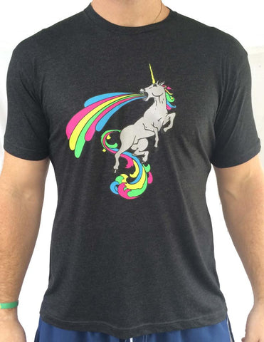 Mens Awesome Unicorn Charcoal Triblend Tshirt