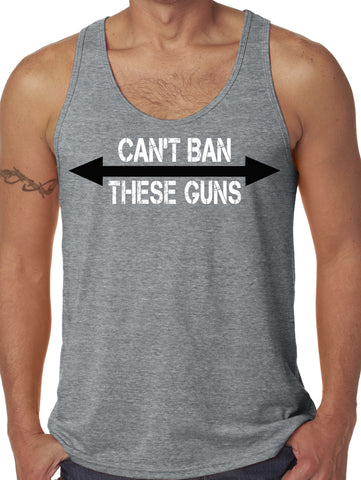 SALE - Mens Can't Ban These Guns Grey Tri Blend Tank Top